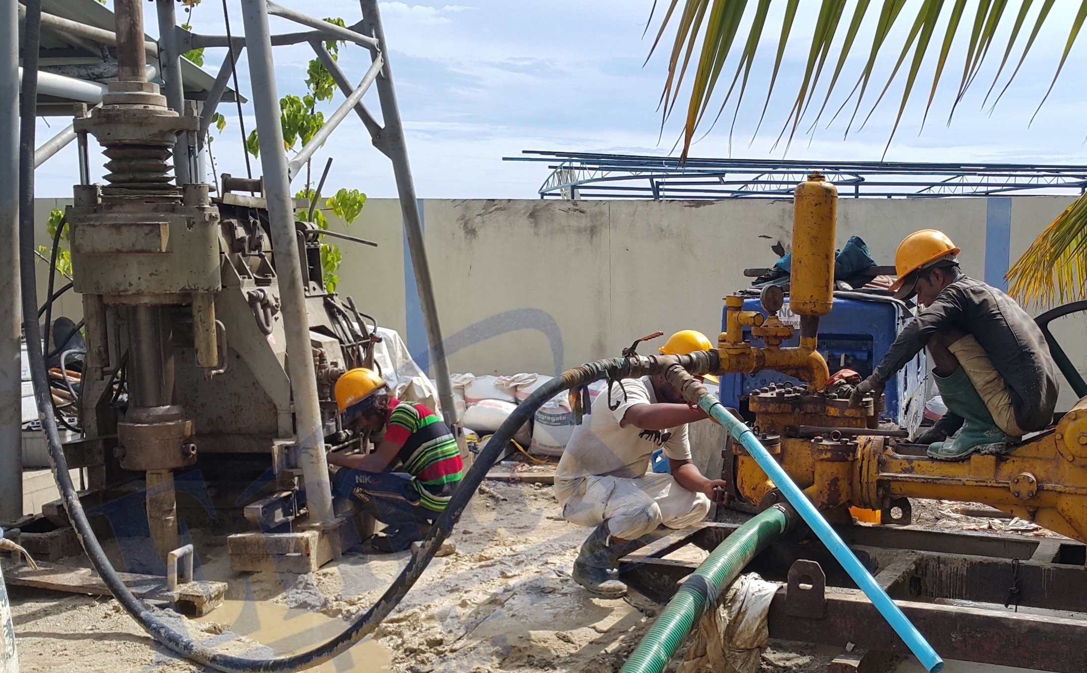 Borehole drilling work is ongoing